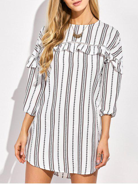 online Round Neck Ruffles Striped Shift Dress - WHITE S Mobile