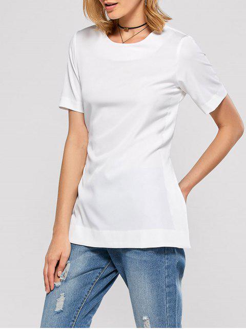 ladies Short Sleeve Open Back Tee - WHITE M Mobile