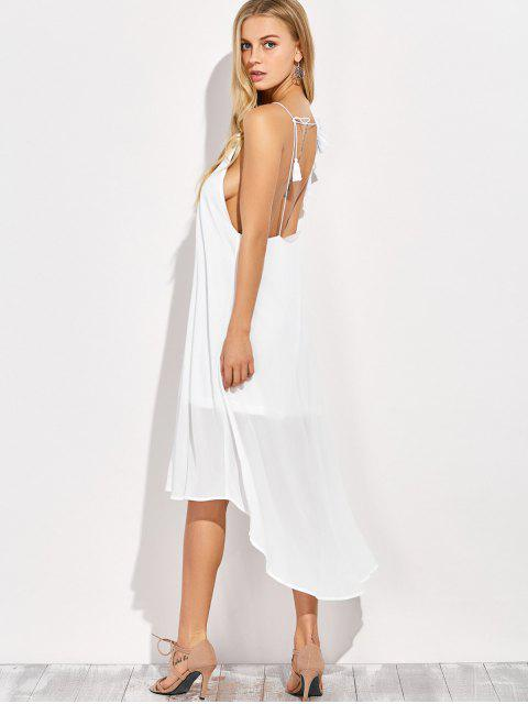 unique Sexy Backless High Low Slip Dress - WHITE XL Mobile