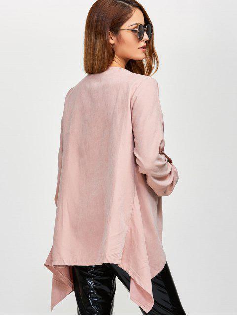 trendy Drape Front Coat - PINK 4XL Mobile