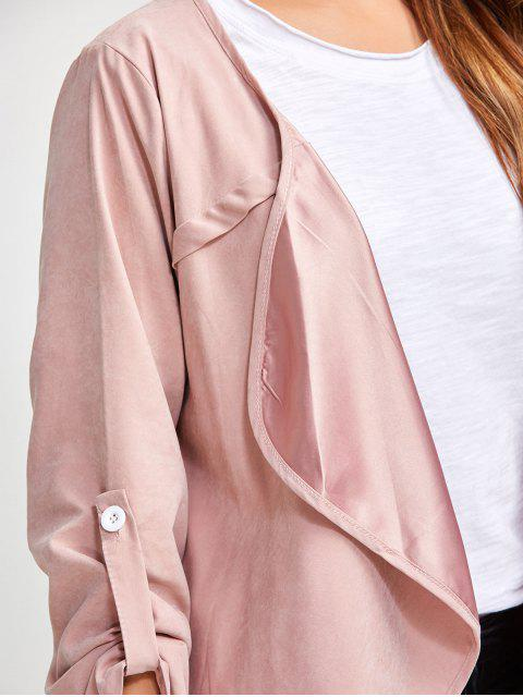 fancy Drape Front Coat - PINK XL Mobile