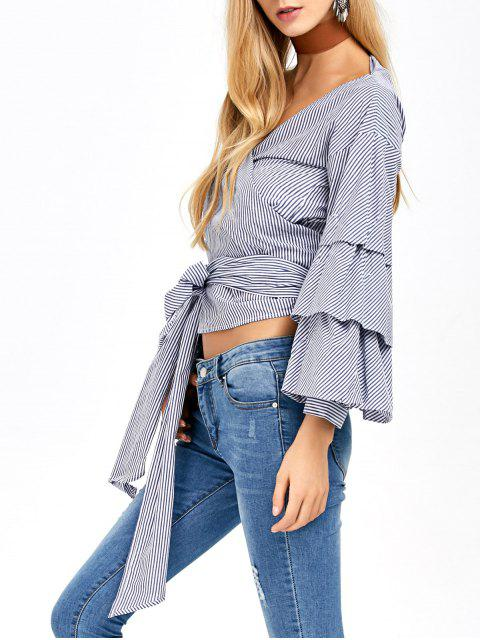 outfits Layered Sleeve Striped Wrap Blouse - BLUE AND WHITE 2XL Mobile
