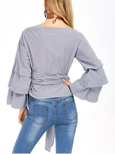 shop Layered Sleeve Striped Wrap Blouse - BLUE AND WHITE XL Mobile