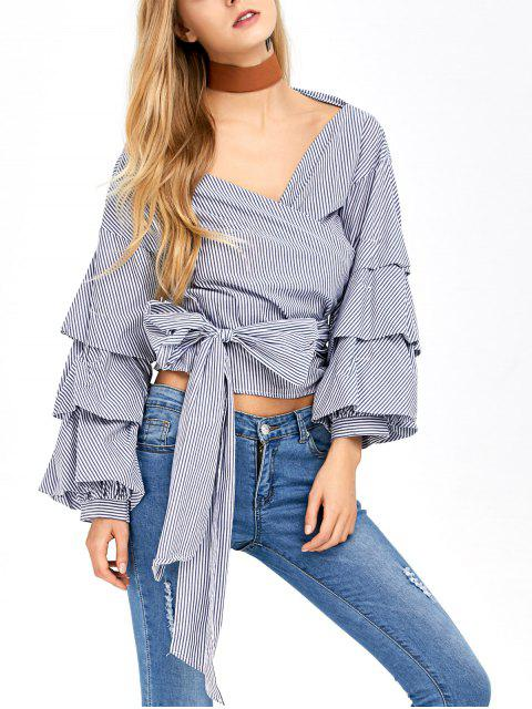 shops Layered Sleeve Striped Wrap Blouse - BLUE AND WHITE L Mobile