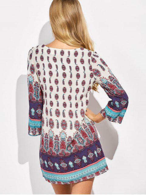 trendy Retro Print Tunic Dress - COLORMIX L Mobile