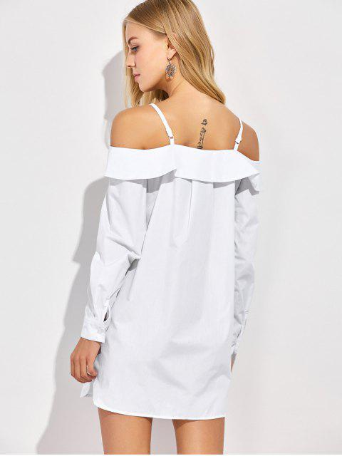 chic Cold Shoulder Button Up Blouse - WHITE S Mobile