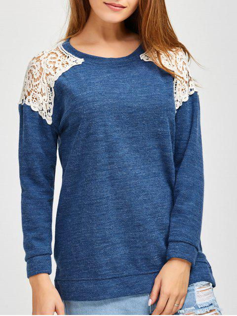 hot Lace Spliced Slit Sweater - BLUE S Mobile