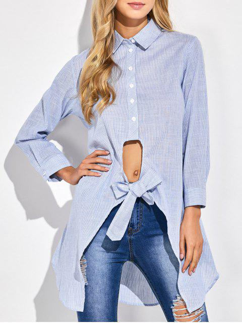 affordable Striped Knotted Long Shirt - STRIPE M Mobile