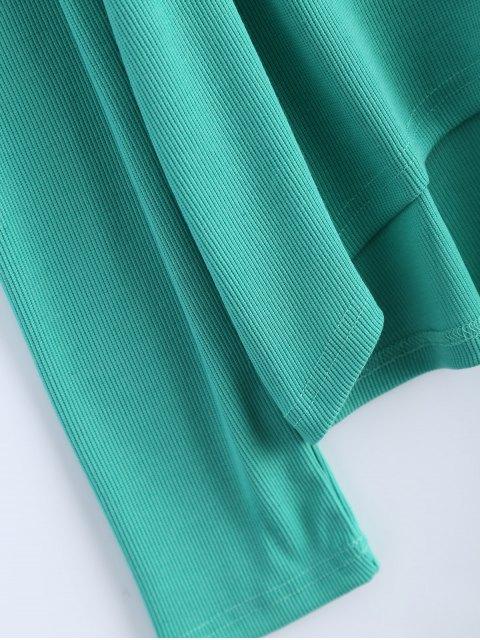 fancy Cold Shoulder Turtle Neck Knitwear - GREEN L Mobile