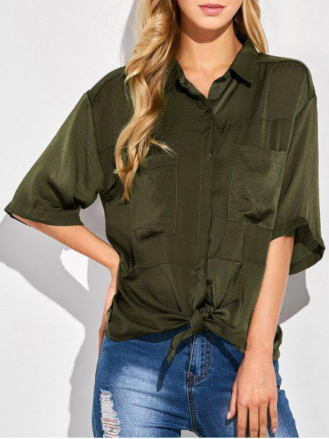 unique Front Knot Pocket Shirt - GREEN XL Mobile