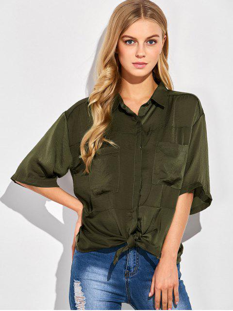 affordable Front Knot Pocket Shirt - GREEN M Mobile