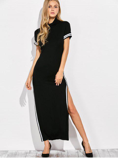 latest Cut Out Side Slit Maxi Dress - BLACK S Mobile