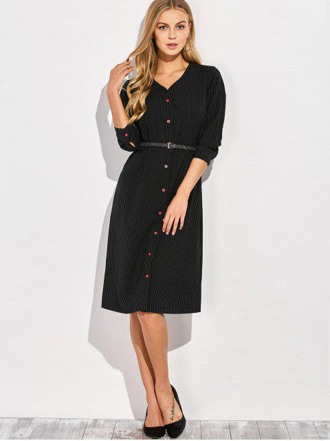 new Single-Breasted Striped A-Line Dress - BLACK L Mobile
