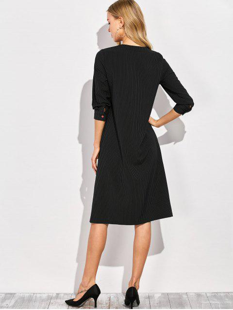 outfit Single-Breasted Striped A-Line Dress - BLACK S Mobile