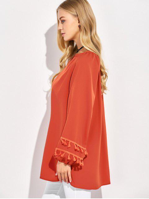 fashion V Neck Tassel Blouse - RED 2XL Mobile