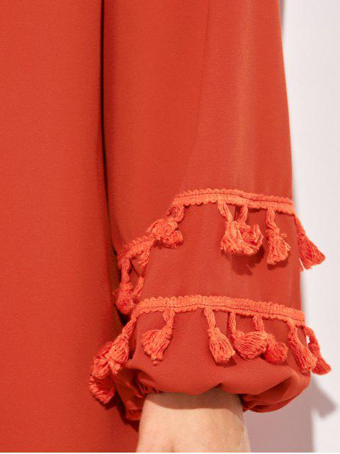chic V Neck Tassel Blouse - RED XL Mobile