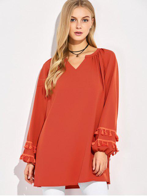 sale V Neck Tassel Blouse - RED S Mobile