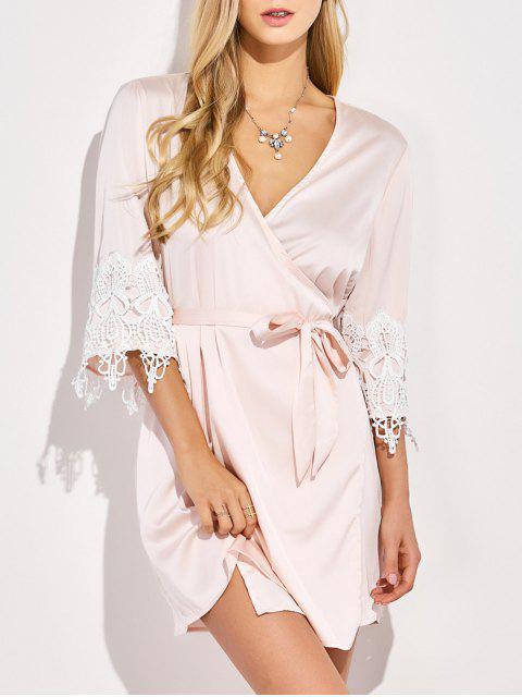 womens Lace Spliced Cosy Kimono - PINKBEIGE 2XL Mobile