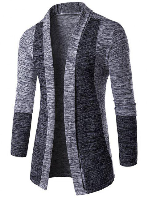 Space-Dye-Contrast-Panel vorne offen Cardigan - Hellgrau 2XL Mobile