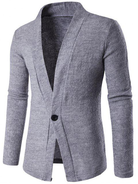 online Knitted Texture One Button Cardigan - GRAY L Mobile