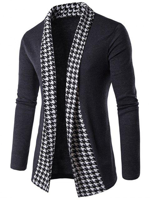 online Knitted Houndstooth Open Front Cardigan - GRAY 2XL Mobile