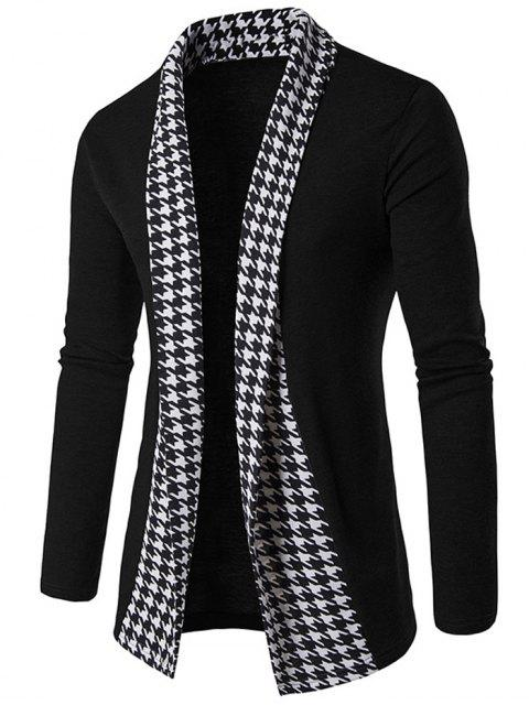 buy Knitted Houndstooth Open Front Cardigan - BLACK L Mobile