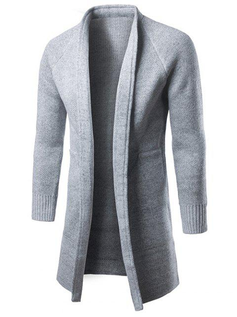 outfits Raglan Sleeve Open Front Drape Cardigan - GRAY M Mobile