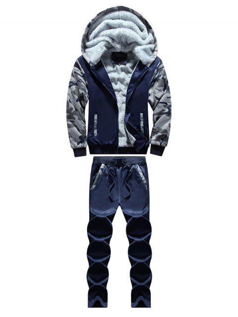 Sweat à capuche zippé avec insertion de couleur camouflage  +Survêtement - Bleu Foncé L Mobile