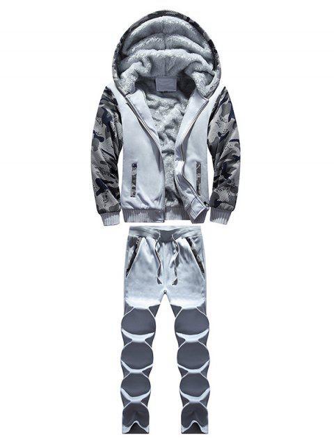 Zip Up Camouflage-Panel Hoodie und Jogginghose - Hellgrau 2XL Mobile