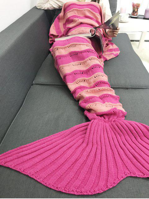 Verdicken Multicolor-Streifen Gestrickte Mermaid Schwanz Blanket - Sangria  Mobile
