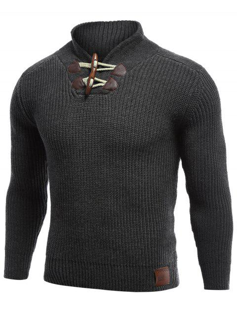 best Flat Knitted Pullover Toggle Sweater - BLACK 2XL Mobile