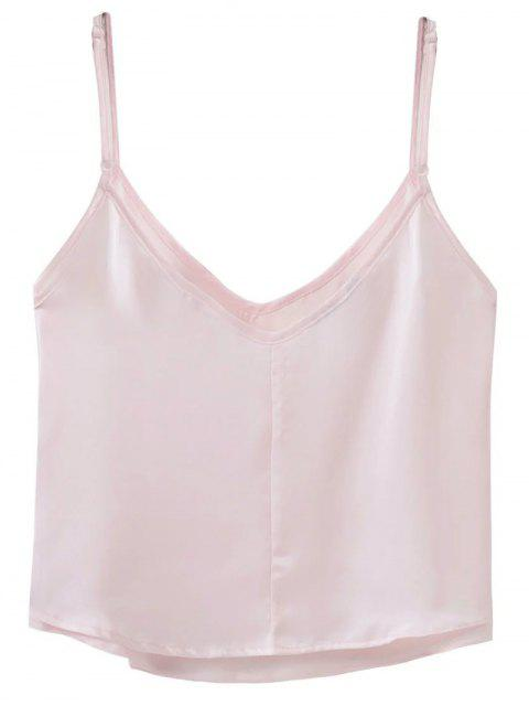 shop Adjusted Satin Camisole - LIGHT PINK M Mobile