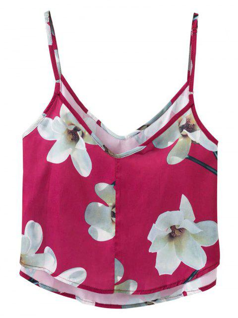 chic Adjusted Floral Satin Camisole - RED L Mobile
