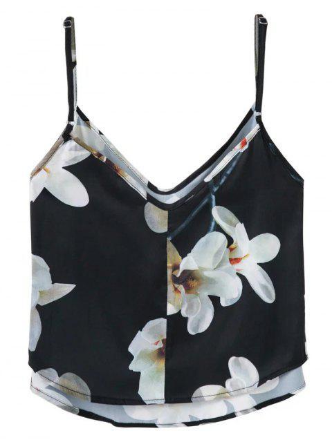 affordable Adjusted Floral Satin Camisole - BLACK M Mobile