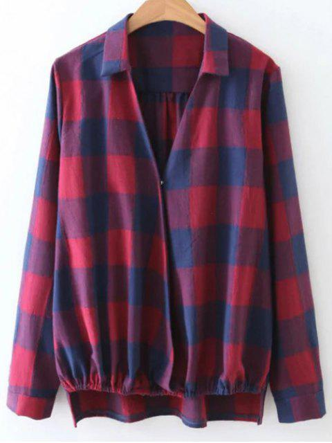 hot Checked V Neck High Low Blouse - PLAID L Mobile
