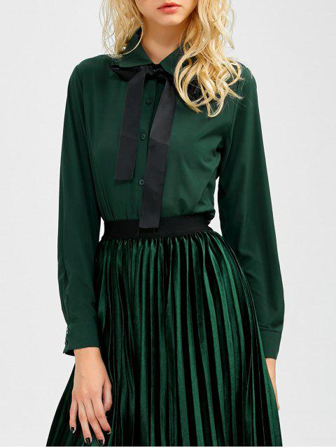 lady Boyfriend Long Sleeve Bowknot Shirt - BLACKISH GREEN M Mobile