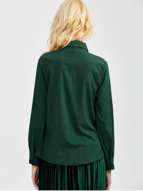 ladies Boyfriend Long Sleeve Bowknot Shirt - BLACKISH GREEN L Mobile