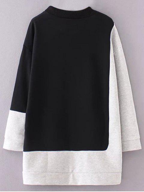 ladies Mock Neck Color Block Sweatshirt - BLACK AND GREY M Mobile