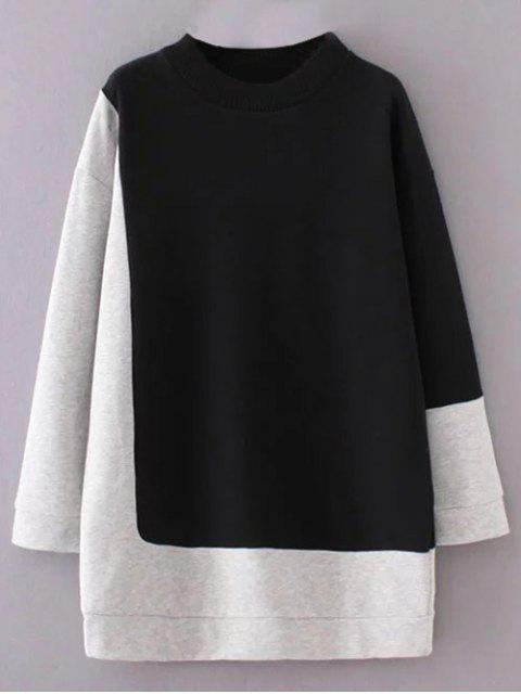ladies Mock Neck Color Block Sweatshirt - BLACK AND GREY M Mobile