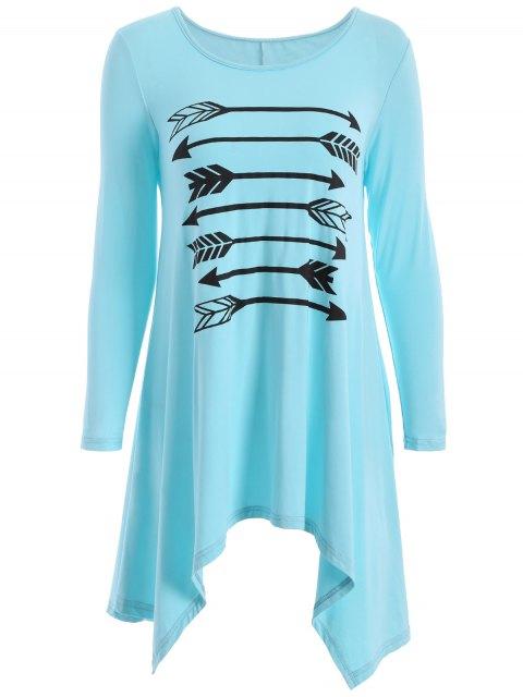 Blouse imprimé flèche manches longues - Bleu clair XL Mobile