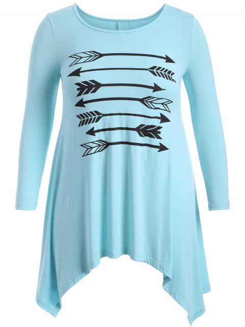 women Arrow Pattern Irregular Hem Tee - LIGHT BLUE 3XL Mobile