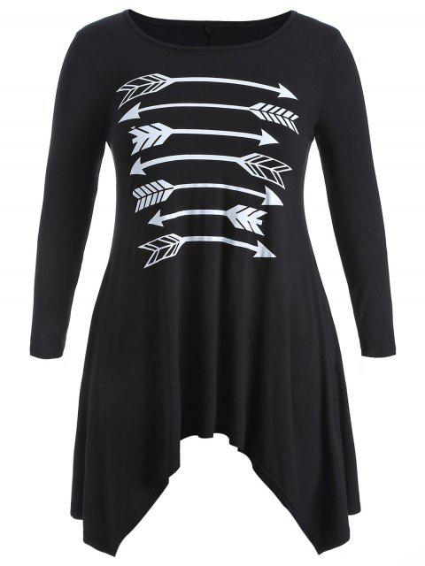 best Arrow Pattern Irregular Hem Tee - BLACK 3XL Mobile