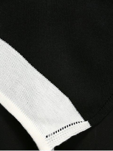 hot Asymmetric Slash Neck Knitwear - WHITE AND BLACK M Mobile