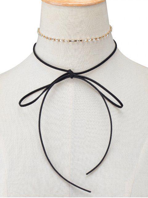 womens Velvet Bowknot Rhinestone Choker Necklace Set -   Mobile