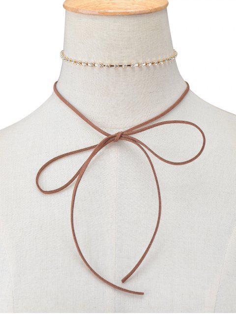 women's Velvet Bowknot Rhinestone Choker Necklace Set -   Mobile