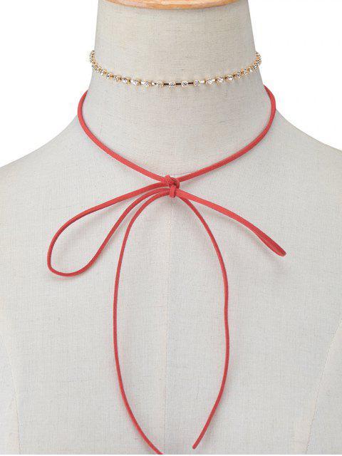 ladies Velvet Bowknot Rhinestone Choker Necklace Set -   Mobile