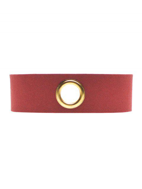 trendy Velvet Rivet Hole Wide Choker - BURGUNDY  Mobile