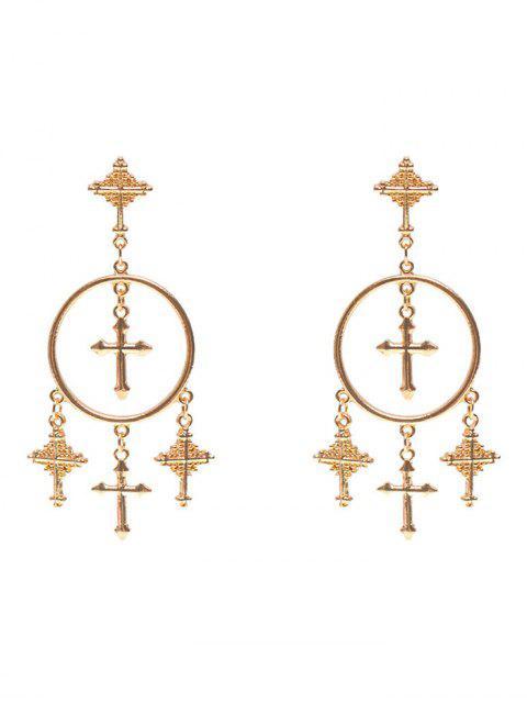 outfits Crosses Tassel Round Drop Earrings -   Mobile