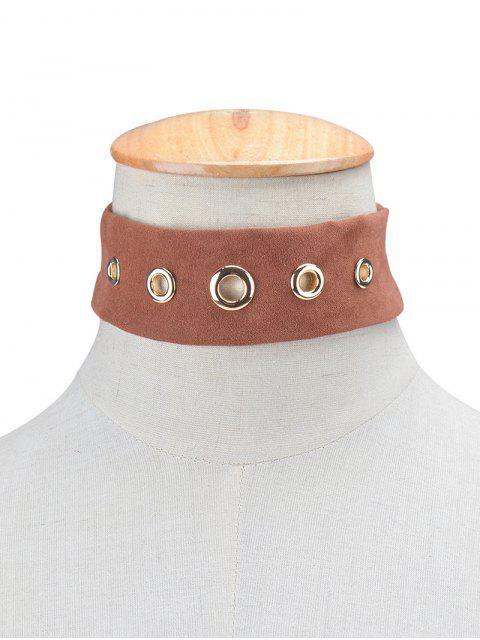 fancy Suede Rivet Choker Necklace -   Mobile
