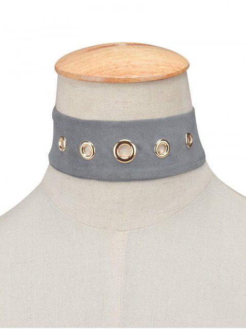 unique Suede Rivet Choker Necklace - GRAY  Mobile